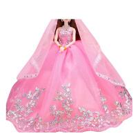 换装芭比娃娃婚纱公主套装大礼盒女孩生日礼物儿童玩具洋娃娃单个 A款大红 加礼服2件 12关节*盒