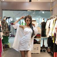 套装女夏2018新款韩版时尚百搭防晒服+抹胸+波点包臀半身裙三件套 白色