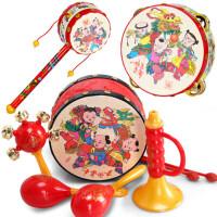 拨浪鼓宝宝玩具婴儿手摇铃0-1岁新生婴儿传统拨浪鼓摇铃益智玩具5 +球