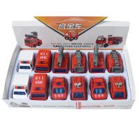 一盒12个合金回力小汽车迷你消防车仿真模型玩具口袋玩具车约4.5 ZH790F一盒12个