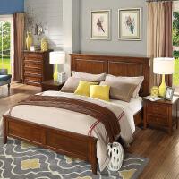 【一件3折】美式乡村实木床高箱床矮床尾 双人床经典床头1.5m1.8m