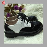 新款男童鞋亮面漆皮时尚白色系带皮鞋演出鞋子儿童礼服单鞋   可礼品卡支付