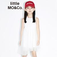 littlemoco女童连衣裙不对称网纱公主裙收腰轻纱长款无袖连衣裙