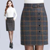 秋冬女装半身裙格子包臀裙子高腰中裙毛呢裙一步裙显瘦工作裙