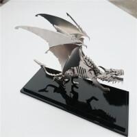 3D立体拼图金属不锈钢拼装模型西伯利亚平原狼创意DIY手工礼物 冰龙DIY 银色