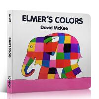 全店满300减100】Elmer's Colors 艾玛花格子大象的颜色 幼儿入门启蒙英文绘本 纸板书