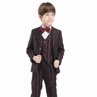 男童休闲西装外套秋冬款 儿童西服套装 花童礼服宝宝小西装 Y051粗条纹西装五件套