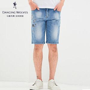 与狼共舞牛仔短裤 2017夏季新款男士印花磨破薄五分裤青年男4606