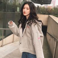 秋冬女装韩版学院风字母刺绣加绒加厚连帽卫衣开衫外套学生上衣潮