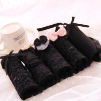 5条礼盒装 黑色内裤女纯棉性感诱惑蕾丝面料透明情趣女士三角内裤