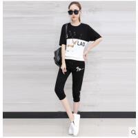 运动套装女休闲女ydtz运动套装韩版宽松印花短袖t恤两件套初中高中学生套装支持礼品卡支付