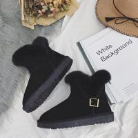 冬季新品羊皮毛一体加厚保暖防滑兔毛款雪地靴平底鞋女鞋潮