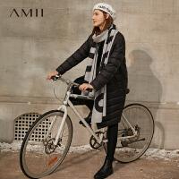 Amii极简时尚白鸭绒轻薄羽绒服女2020新款宽松立领中长款黑色外套