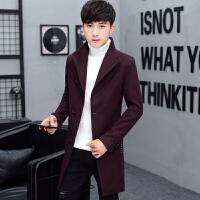 加绒中长款风衣外套男青少年韩版修身翻领毛呢大衣加厚保暖呢子褂 薄款酒红 M