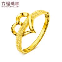 六福珠宝黄金戒指女款挚爱心形足金戒指活口戒计价GAG40027