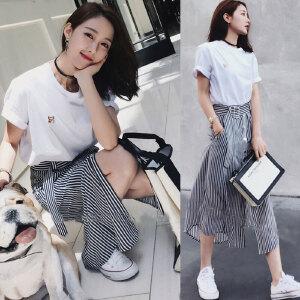 2018春夏新款韩版名媛小香风a字连衣裙两件套时尚时髦套装女