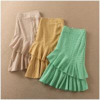 夏季新品中长裙学院风薄款格子半身裙女24435