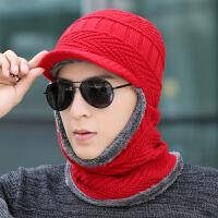 冬季帽子男士骑车针织帽子围巾一体青年毛线帽女