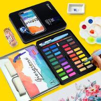 乔尔乔内固体水彩颜料套装36色24色小学生手绘绘画画笔本留白液工具铁盒装美术儿童无毒初学者用便携式水粉饼