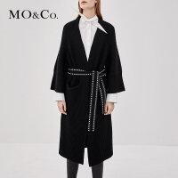 MOCO秋季新品纯羊毛开襟铆钉腰带外套MA183CAR301 摩安珂