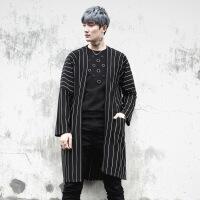 新款暗黑系发型师男士中长款条纹风衣宽松潮流男青年披风外套 均码