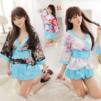 日系性感睡衣女式春夏印花日式和服可爱睡裙套装短裙