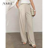 Amii极简通勤风休闲显瘦阔腿裤女2021春新款裤子宽松雪纺垂感长裤