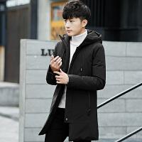 羽绒服男中长款2017新款韩版潮男装冬季加厚保暖连帽上衣男士外套 黑色AK7902