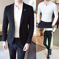 西装男套装修身一套韩版潮青年单西上衣男士休闲小西服外套 黑色三件套(外套+白衬衫+裤子) M