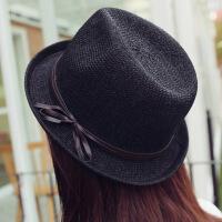 帽子女夏天草帽遮阳帽韩版英伦出游潮流爵士帽时尚百搭卷边小礼帽 可调节