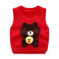 男童毛衣背心马甲针织坎肩外穿新款春秋宝宝红儿童毛线小童套头潮