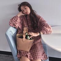 春秋女装新款韩版中长款木耳边格子长袖连衣裙宽松显瘦学生裙子潮