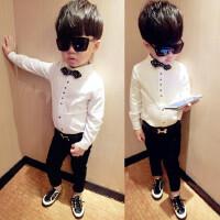 男童纯棉白色衬衫3童装儿童秋装6长袖修身校服8韩版领结衬衣9岁潮