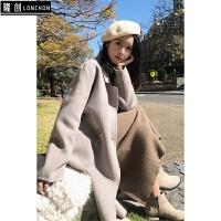 秋冬新款韩版时尚斗篷中长款过膝仿羊绒毛呢子大衣外套