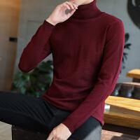 秋冬季韩版高领男士毛衣纯色套头针织衫打底衫男装潮毛线衣大码