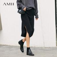 【2000爆款,满200减100包邮】Amii[极简主义]玲珑现身 高腰开叉针织半身裙女 2017冬新过膝裙子