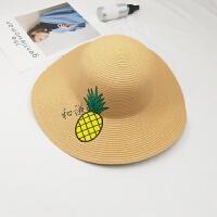 刺绣菠萝草帽韩版女士大檐帽夏天海边度假沙滩帽遮阳帽凉帽潮 M(56-58cm)