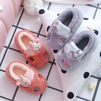 冬季儿童棉拖鞋男女童亲子可爱卡通包跟防滑室内宝宝居家毛毛拖鞋