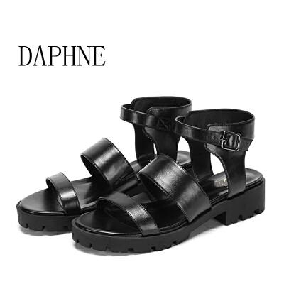 Daphne/达芙妮圆漾夏季一字扣粗低跟舒适时尚女凉鞋