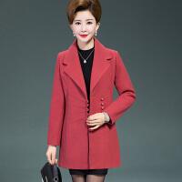 中年女士毛呢外套短款新款修身妈妈装秋冬装韩版修身呢子上衣