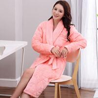 冬季加厚高个子法兰绒夹棉睡衣女挡风舒适老人家居服睡袍浴袍宽松