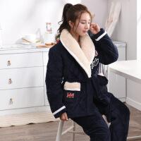 情侣睡衣男女冬季三层加厚加绒夹棉法兰绒长袖棉袄套装一件