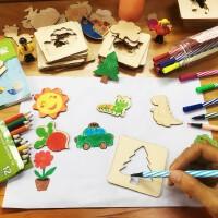 儿童绘画模板2-3-6周岁男女孩益智拼图木质宝宝涂鸦玩具
