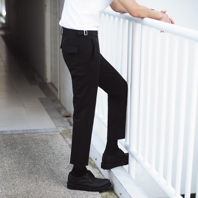 夏装韩国搭扣时尚修身休闲西装裤男免烫小直脚休闲九分裤潮 一般在付款后3-90天左右发货,具体发货时间请以与客服协商的时间为准