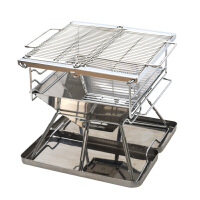 大型折叠烧烤炉便携加厚烧烤架烤肉架户外木炭烤肉炉送不锈钢底盘 不锈钢底盘收纳盒