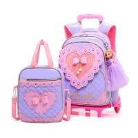 依贝奴 六轮拉杆书包小学生女防水PU两件套装儿童书包6-12周岁2-3-6年级双肩背包