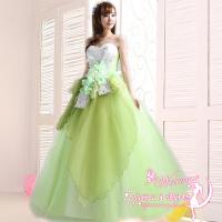 婚纱礼服新款优雅独唱大摆裙舞台表演服演出服大码长款蓬蓬裙 浅绿色