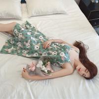 带胸垫睡裙女夏纯棉甜美可爱韩版小清新中长款吊带睡衣女夏天睡裙