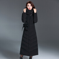 秋冬新款加长羽绒服女欧美腰带修身中老年气质奢华