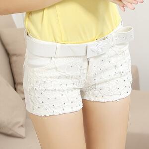 夏季新款韩版显瘦白色弹力休闲纯色短裤 女夏大码热裤钉珠
